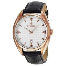 New Mens Invicta 12212 Vintage Elegant Black Leather Watch