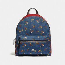 New Authentic Coach F35425 Medium Charlie Backpack With Cherry Print Backpack