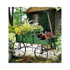 Wooden Garden Planter Wagon Flowers Display Outdoor Decorative Patio Furniture