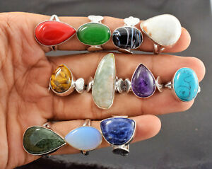 New Sale Wholesale PCs Lot Multi Mix Gemstone 925 Sterling Silver Plated Rings