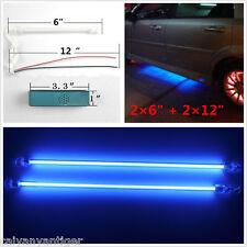 "4pcs Blue Car Undercar Underbody Neon Kit Lights CCFL Cold Cathode Tube 6""+12"""