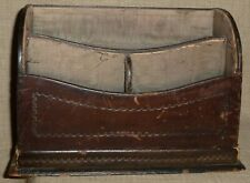 ANTIQUE~Lovely TOOLED, LEATHER-WRAPPED WOOD DESKTOP LETTER FILE w/ SILK LINING