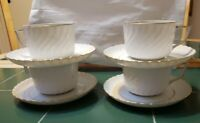 Set of 4 Royal Tettau Fine China Cup & Sucer Anno 1794 Swirl Pattern White Gold