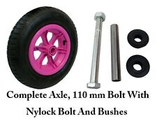"PINK SPOKED + AXLE 4 PLY  14"" Pneumatic Wheelbarrow Wheel Tyre 3.50 - 8 TUBE"