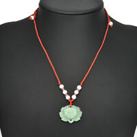 Lucky Charm Natural Green Jade Lotus Pendant Necklace Fashion Jewellery 1Pcs