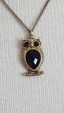 """Faux Oynx, Plastic, Metal, 18-20"""" Vintage Goldtone Owl Pendant Necklace, Black"""