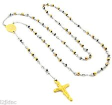 "Mens and Ladies Stainless Steel Gold/ Silver 30"" Rosary Necklace 4mm Round Beads"