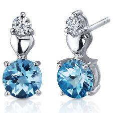 2 CT Round Blue Swiss Blue Topaz Sterling Silver Earrings