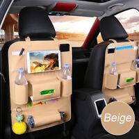 1X Auto Rückenlehnenschutz Autositz Organizer KFZ PU Leder Rücksitzschoner Beige