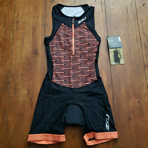 2XU Women's Small Trisuit Orange Sleeveless One-Piece Triathlon Active Suit S