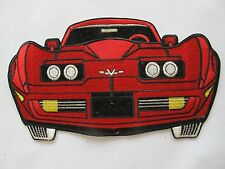 """#3130G 9"""" CORVETTE Red Car Embroidery Sew On Applique Patch"""