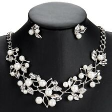 LADIES & WOMENS PEARL BEAD LEAF STATEMENT WEDDING NECKLACE AND EARRING SETS UK