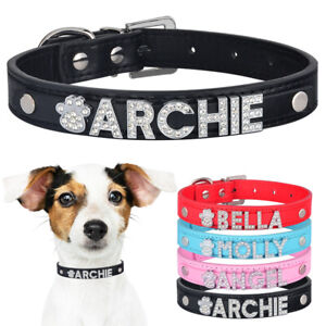 Personalised Leather Girl Dog Collar Diamante Charms Name Kitten Cat ID Collars