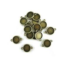 Buddly Crafts 15mm x 21mm Round Metal Frames - 15pcs Antique Bronze AB46