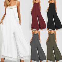 Plus Women Strappy Pockets Lace Wide Leg Playsuit Lace Party Club Beach Jumpsuit