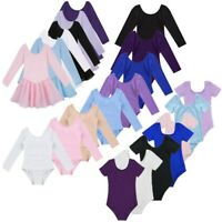 Girls Ballet Long/Short Sleeve Dance Wear Leotard Gymnastics Bodysuit Clothes