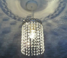 VINTAGE DECO LOOK CHANDELIER PENDANT LIGHT GLASS RETRO DROPS LAMP ANTIQUE CHROME