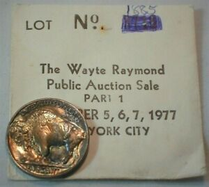 1937 USA Buffalo Nickel Uncirculated Condition Old Auction Envelope Toning (902)