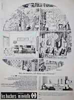 PUBLICITÉ PRESSE 1965 ÉLÉMENTS LES HUCHERS MINVIELLE -BANDE DESSINÉE SIGNÉ SEMPÉ