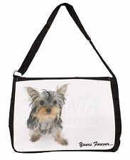 Yorkshire Terrier Dog 'Yours Forever' Large Black Laptop Shoulder Bag S, AD-Y9SB