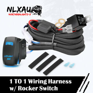 1 TO 1 Wiring Harness Kit 12V 40A ON-OFF Rocker Switch LED Light Bar Relay Fuse
