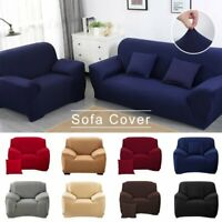 Solid Stretch Chair Sofa Cover 1 2 3 4 Seater Couch Elastic Slipcover Protector