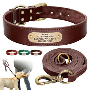 Personalized Leather Dog Collar and Leash Engraved ID Nameplate Adjustable XS-XL
