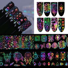 8x Holographic Nail Foil Xmas Dreamcatcher Geometric Nail Art Transfer Decals
