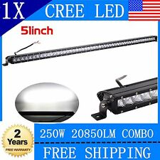 Slim Single Row 250W 51INCH 3D Spot Flood CREE Driving LED Work Light Bar 52""