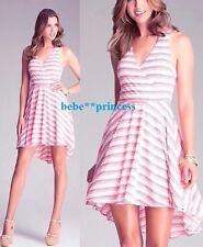 NWT bebe red beige hi low surplice striped racer back flare top dress M medium