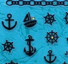 Nail Art 3D Sticker Gold Crystal Black Sail Boat Helm Anchor Chain 26pcs/sheet
