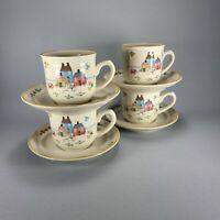 Vintage Heartland Cup Saucer Set Of 4 International China