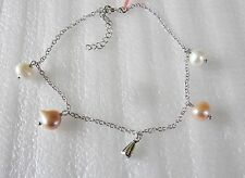 Peach & White Freshwater Pearl Bracelet/Anklet, 925 Sterling Silver, 10.5 inches