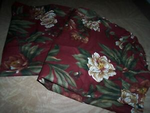 pair of maroon pillow shams white and tan flowers inv1