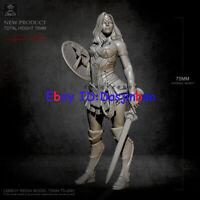 Princess Warrior Unpainted 1/24 Resin Figure Model Kit Unassembled GK 75MM