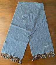 FENDI Mens Womens Unisex Vintage Dark Gray Fringed 100% Pure Virgin Wool Scarf