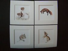 """Watercolour Hare,Stoat,Fieldmouse,Fox  Prints NEW SET  x 4, in mounts  12"""" x 12"""""""