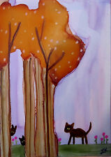 Aceo Original painting brown cats orange tree flowers alcohol ink by L Kohler