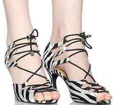 New Women Zebra Satin Latin Ballroom salsa bachata dance shoes All Size