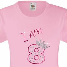 "Girl's Birthday T-Shirt ""I am 8"" Rhinestone Embellished Beautiful Surprise Gift"