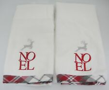 Noel Christmas 2 Hand Towels Ladinne White w Red Silver Stitching Gray Border