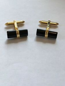 Cufflinks; 14k Yellow Gold Onyx Bar ; Great Looking