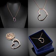 Herz Anhänger Partner Halskette Original Design Vergoldet Swarovski Element R47