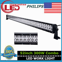 Philips Slim 52Inch 300W LED Work Light Bar Combo Offroad 4WD RZR UTE Jeep 51/50