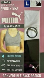 PUMA Performance Women's Seamless Sports Bra 2 Pack Convertible VARIETY | I11