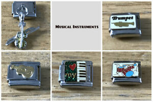 MUSIC INSTRUMENTS MY PASSION Italian Charms fit 9mm Nomination/gift pouch-NC134