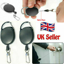 2x Stainless Retractable Keyring Pull Ring Key Chain Recoil Heavy Duty Steel UK