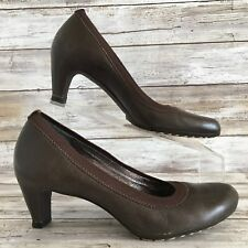 Tsubo Womens 6M Brown Leather Round Toe Cone Heel Dress Work Pumps Shoes