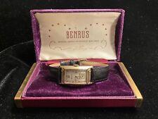 Vintage Benrus Art Deco Curvex Tank 10k Solid Gold Watch with COA & Original Box