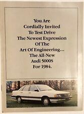 Vintage Dealer Audi 5000S 1984 Vehicle Car Advertisement Brochure Pamphlet Ad
